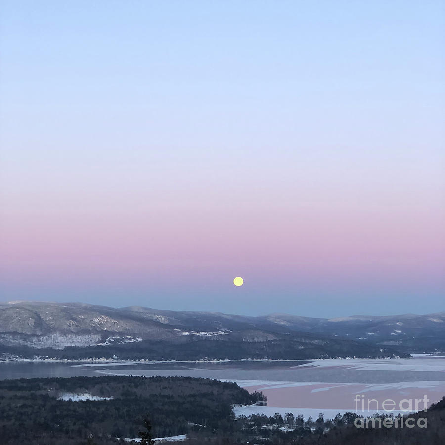Moon Photograph - Moonset over Mountains and the Lake by Christine Segalas