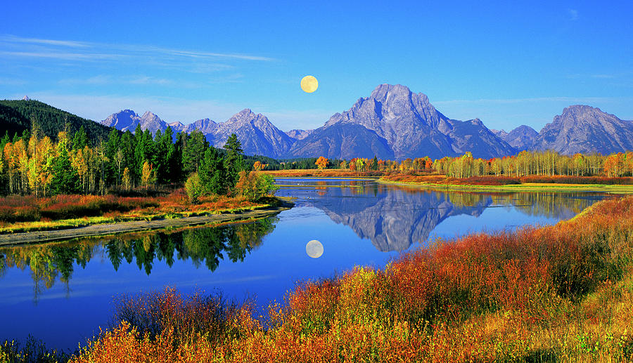 Moonset Over The Oxbow Photograph