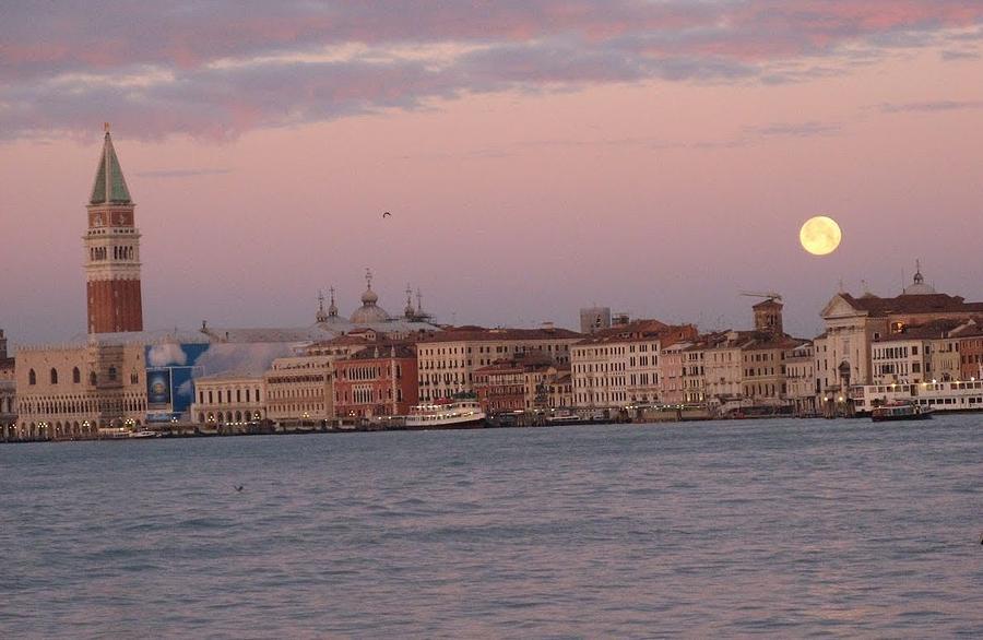 Venice Photograph - Moonset Over Venice by Erla Zwingle