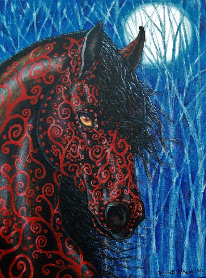 Horses Painting - Moonsfyre Stallion Of Nyteworld by Beth Clark-McDonal
