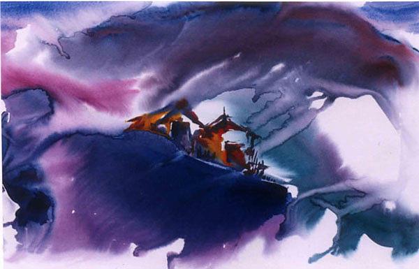 Landscape Painting - Moonshadows by Damodaran Moodriyil
