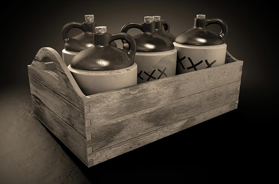 Jug Digital Art - Moonshine In Wooden Crate by Allan Swart