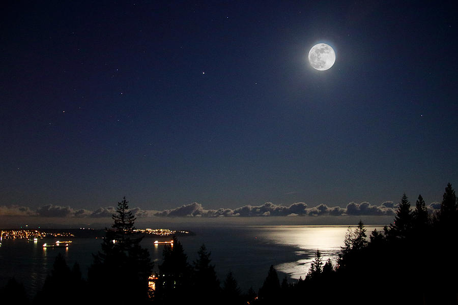 Moonshine over English Bay by Hagen Pflueger
