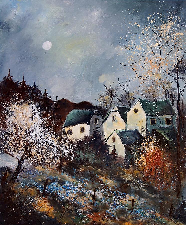 Village Painting - Moonshine  by Pol Ledent