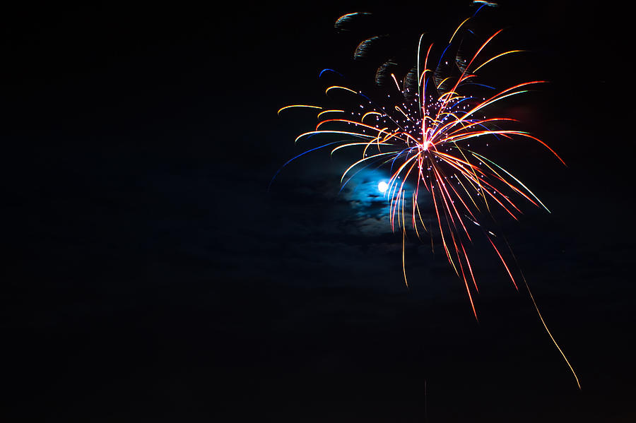 Fireworks Photograph - Moonshot by Christopher Muto