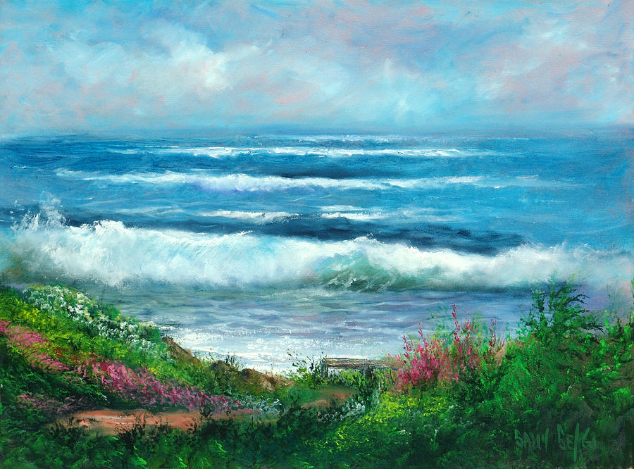 Ocean Painting - Moonstone Bench by Sally Seago