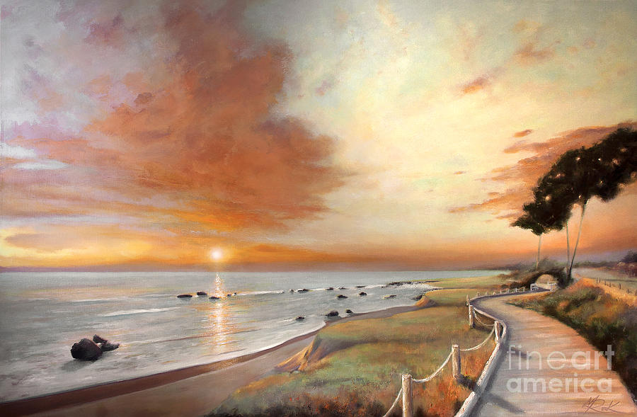 Landscape Painting - Moonstone Cambria Sunset by Michael Rock