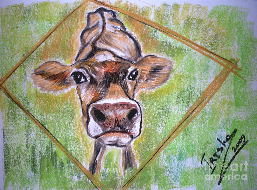 Animals Drawing - Moooo by Irisha Golovnina
