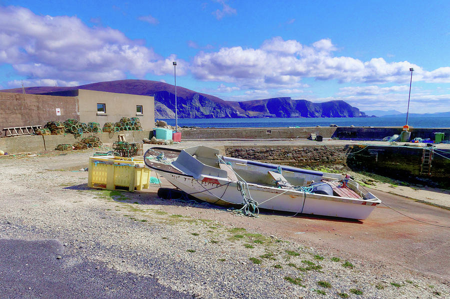 Achill Photograph - Moored Boat On Purteen Harbour by Paul Mc Namara