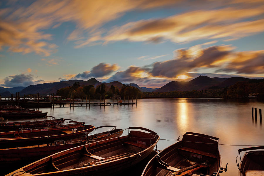 Moored Boats Derwent Water. by Maggie McCall