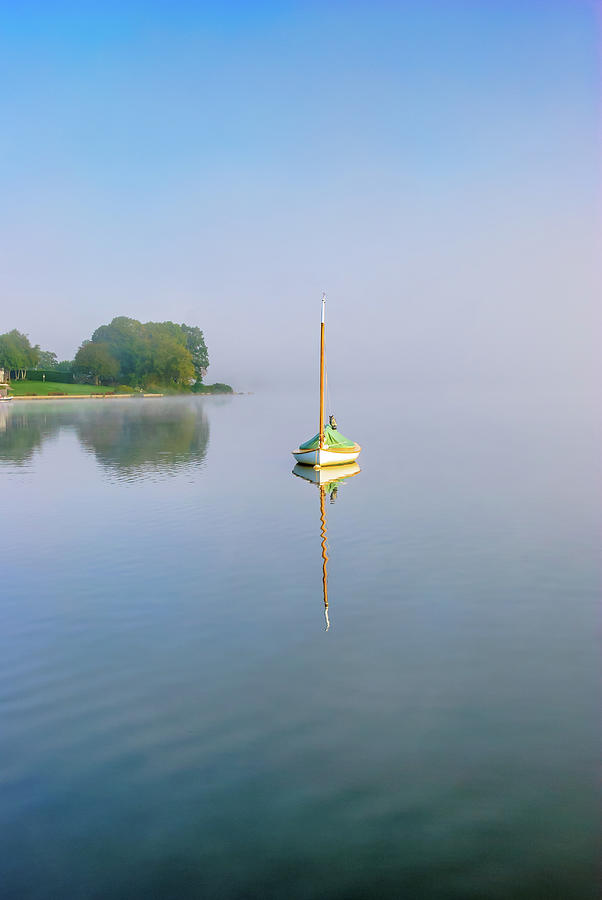 Moored Cat Rig Sailboat With Owl Photograph