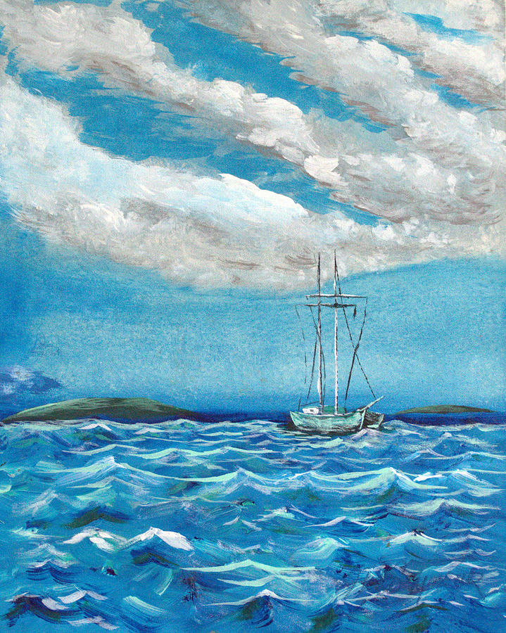 Impressionism Painting - Moored In The Bay by J R Seymour