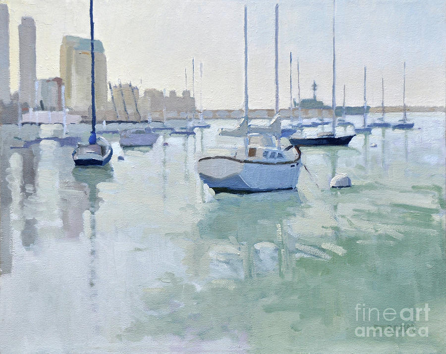Moored Boats on San Diego Harbor by Paul Strahm