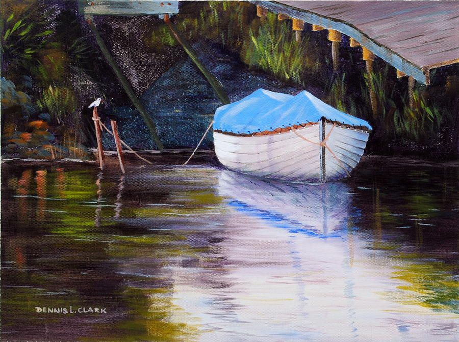 Rowing Painting - Moored Rowing Boat by Dennis Clark