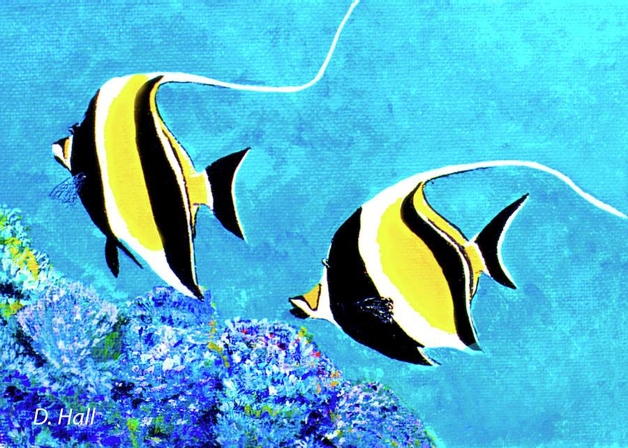Tropical Fish Painting - Moorish Idol Fish  #50 by Donald k Hall