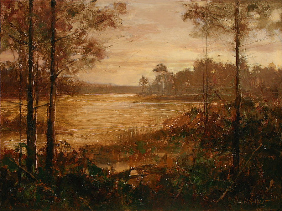 Water Painting - Moorlands At Dusk by Bill Mather