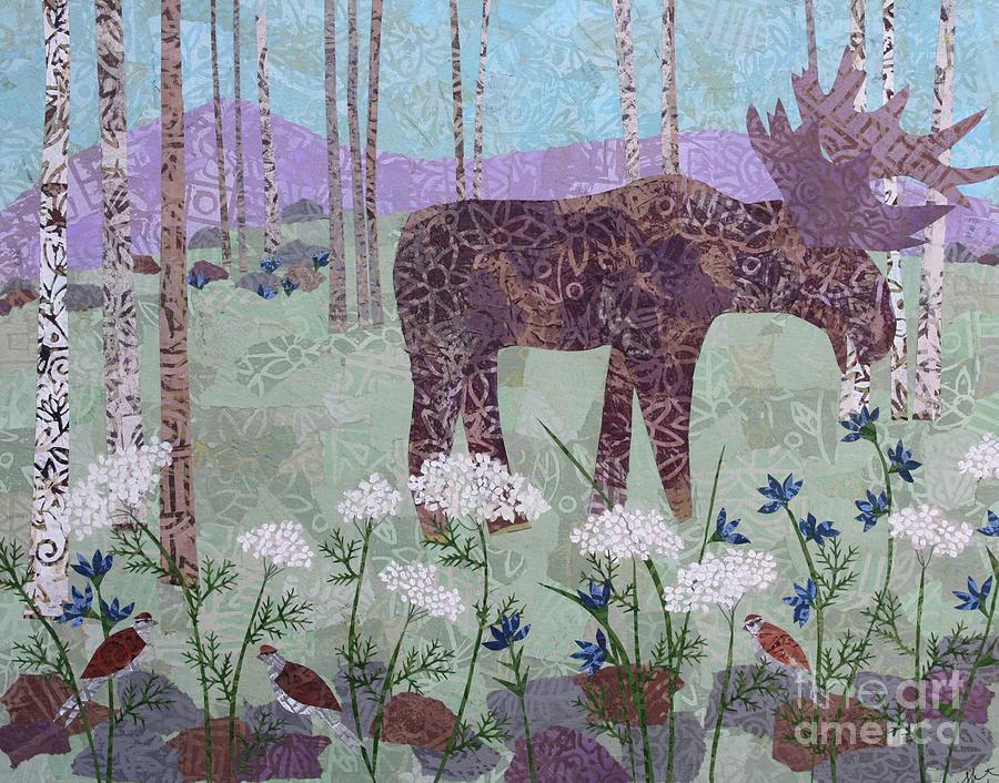 Art Collage Mixed Media - Moose And Three Sparrows by Janyce Boynton