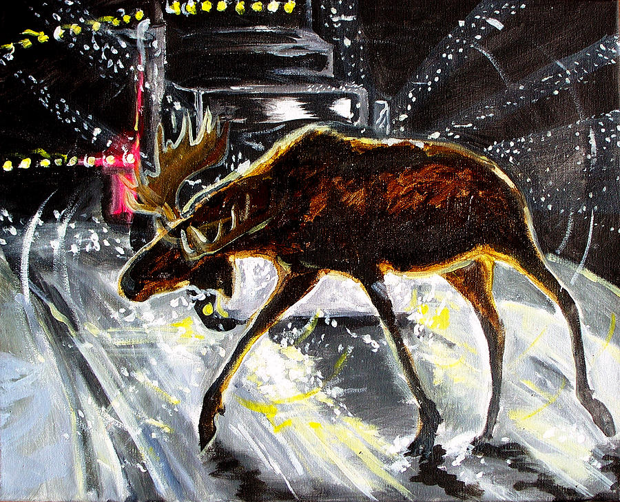 Moose Elk Deer Rig Truck Car Night Driving Snow Blizzard Dark  Painting - Moose Crossing by Jenn Cunningham