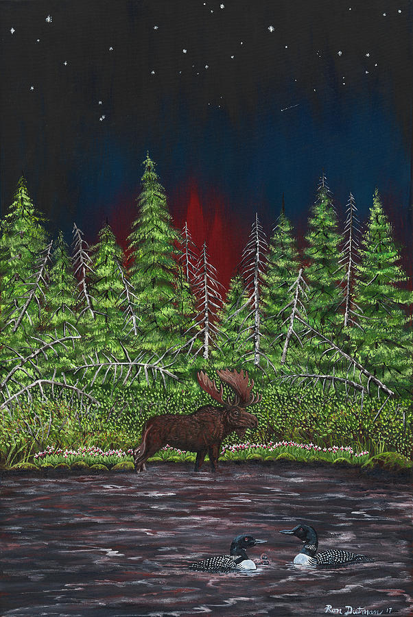 Lake Superior Painting - Moose In Evening Water With Loons by Ron Dietman
