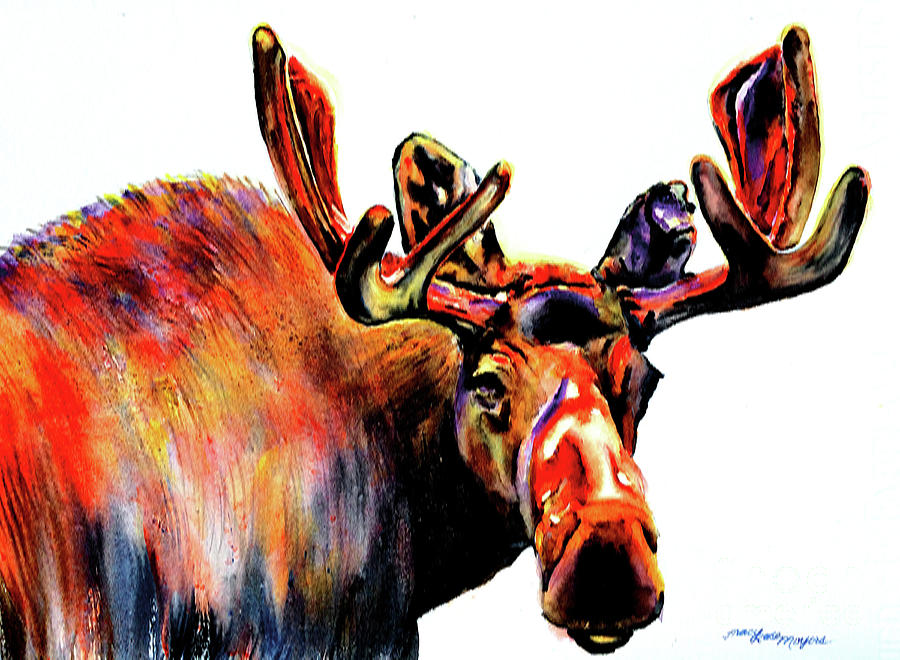 Moose Painting - Moose In Orange by Tracy Rose Moyers