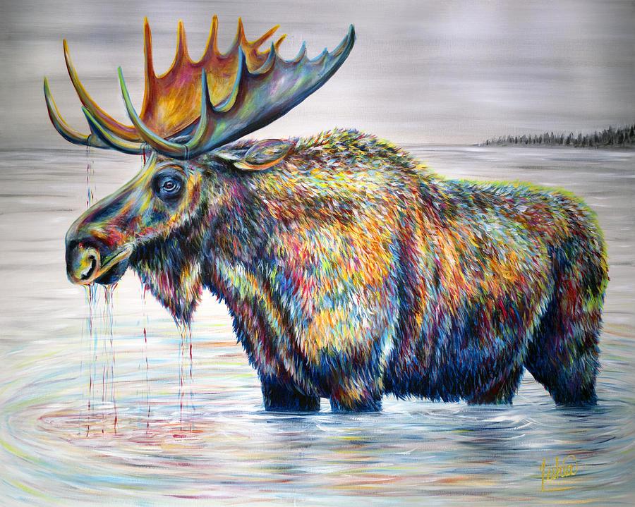 Moose Painting - Moose Island by Teshia Art