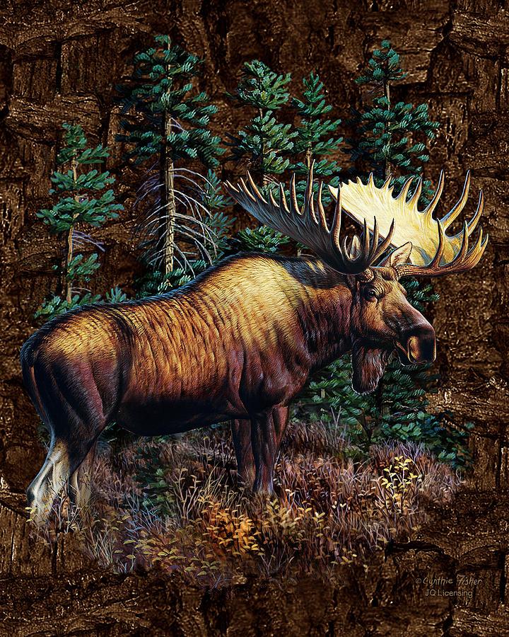 Moose Vignette Painting by JQ Licensing