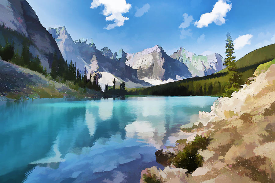Park Painting - Moraine Lake At Banff National Park by Lanjee Chee