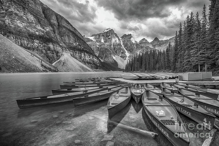 Moraine Lake Photograph - Moraine Lake In Black And White by Paul Quinn