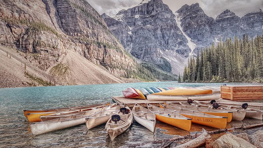 Moraine Lake Alberta Photograph - Moraine Lake Transportation  by Nadia Seme