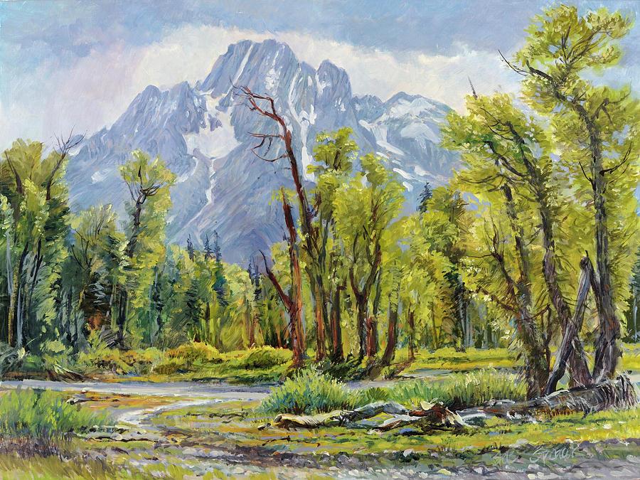 Teton Range Painting - Moran from Pilgrim Creek by Steve Spencer
