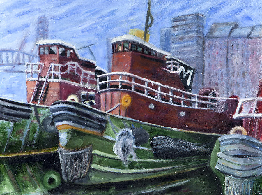 Landscape Painting - Moran Tugboats. Portsmouth New Hampshire by Maurice Pelissier