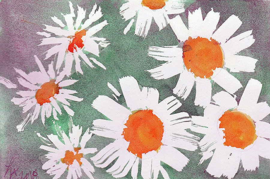 Daisies Painting - More Bunch Of Daisies by Loretta Nash