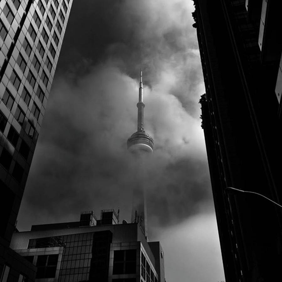 Bnw Photograph - More Downtown Toronto Fogfest by Brian Carson