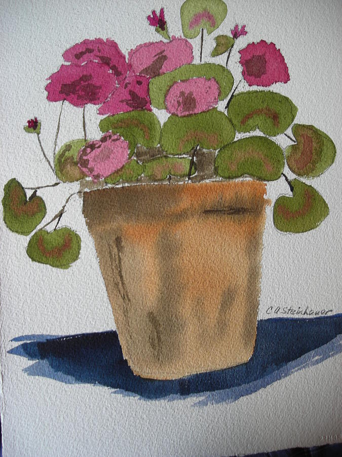 More Geraniums Painting by Carol Steinhauer