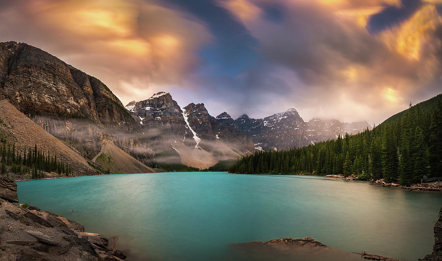 America Photograph - More Rain At Moraine Lake by William Freebilly photography
