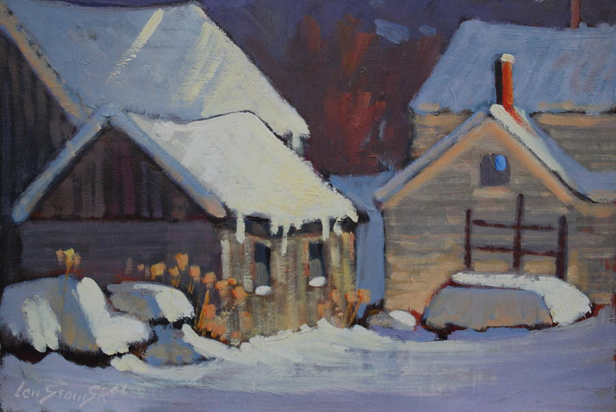 Berkshire Hills Paintings Painting - More Snow Predicted by Len Stomski