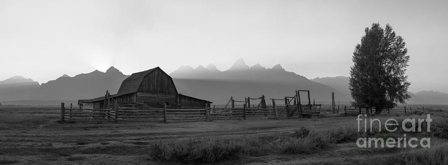 Pano Photograph - Mormon Row Sunset Panorama Bw by Michael Ver Sprill