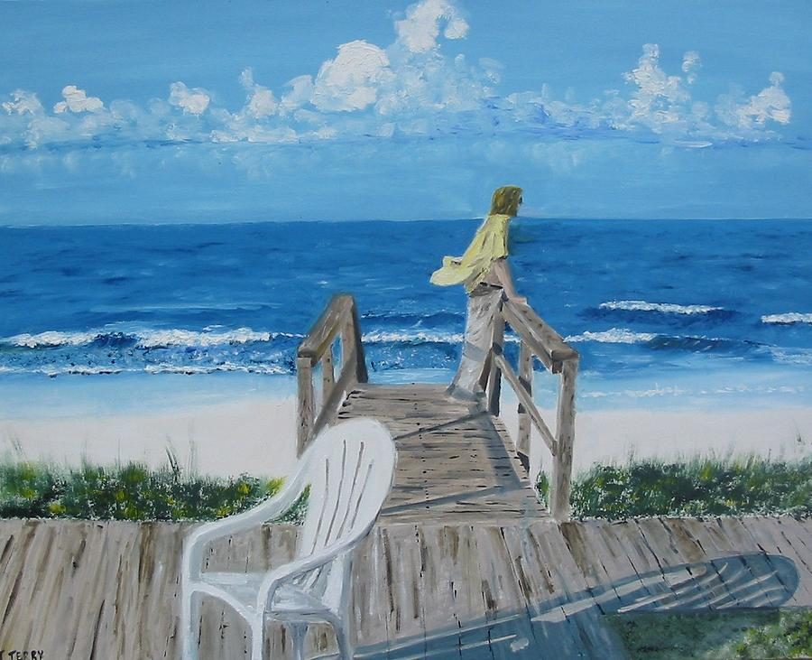 Seascape Painting - Morning At Blue Mountain Beach by John Terry