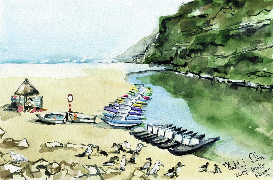 Portugal Painting - Morning At Porto Novo Beach by Dora Hathazi Mendes