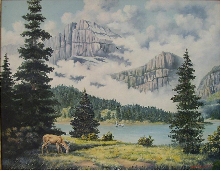 A Lake Painting - Morning At The Glacier by Wanda Dansereau
