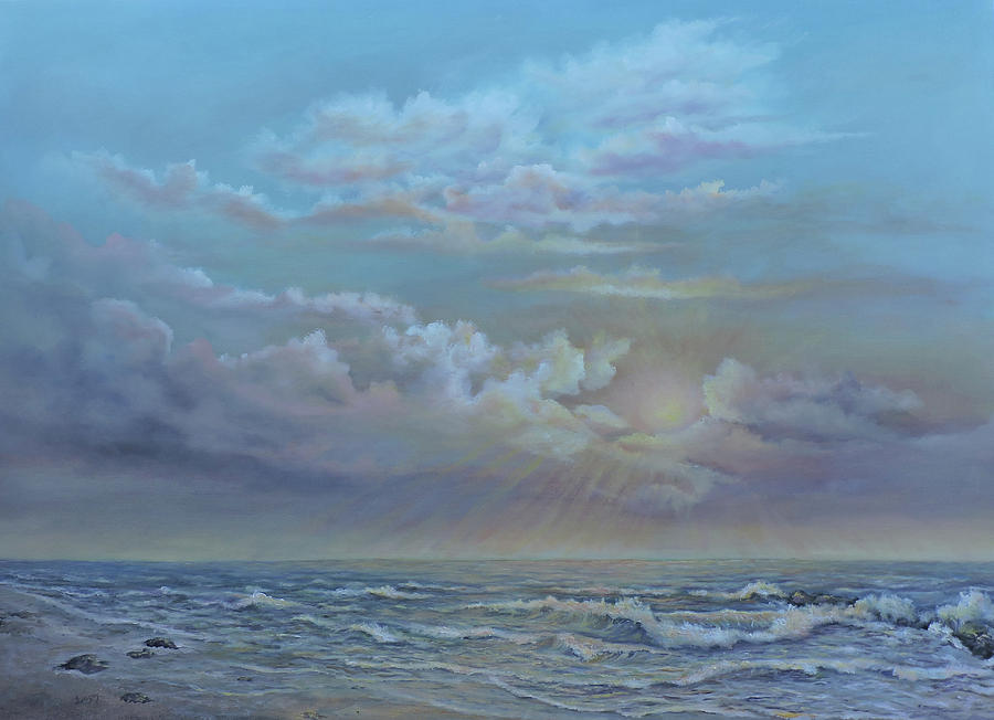 Landscape Painting - Morning At The Ocean by Luczay