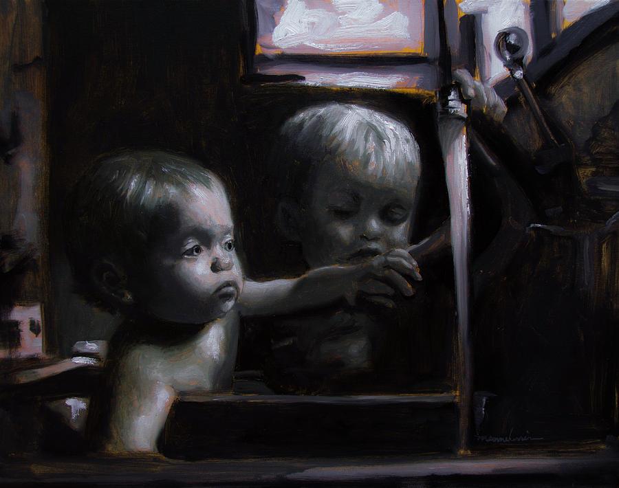 Babies Painting - Morning Bath by Melissa Herrin