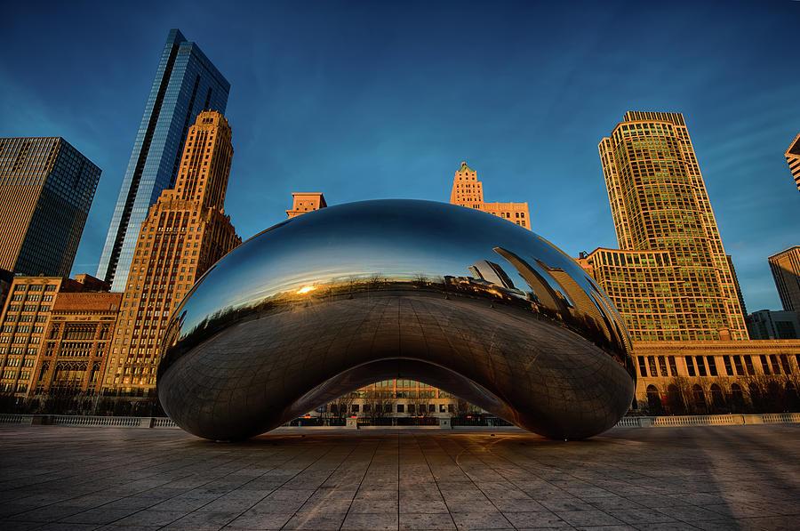 Chicago Cloud Gate Photograph - Morning Bean by Sebastian Musial