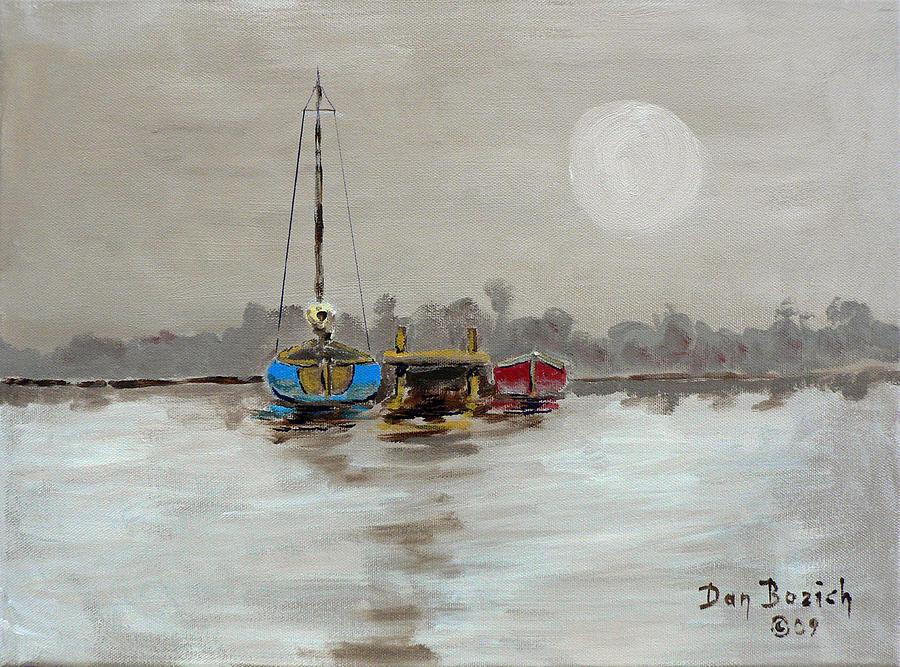 Blue Sailboat Painting - Morning Boats by Dan Bozich