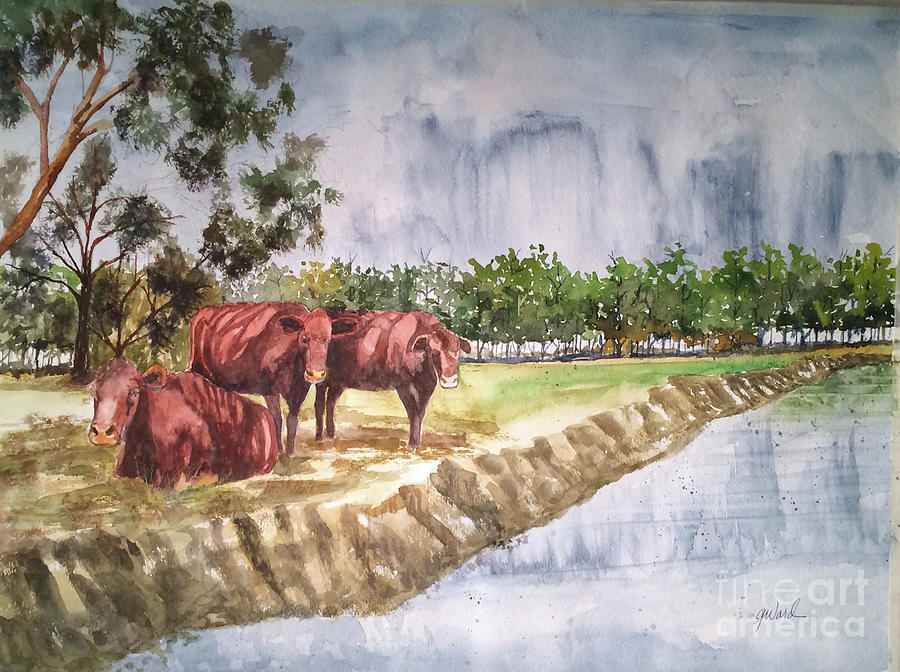 Cows Painting - Morning Break by Glen Ward