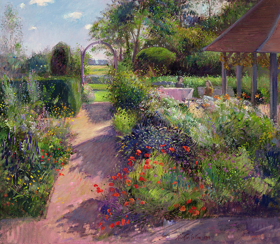 Garden Path Painting - Morning Break In The Garden by Timothy Easton