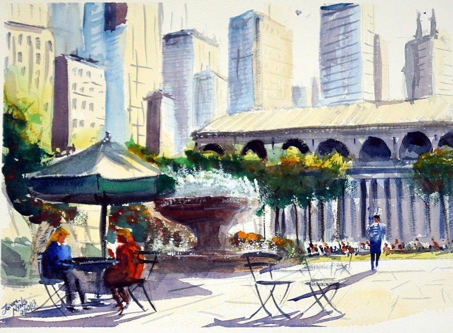Bryant Park Painting - Morning, Bryant Park  by James Nyika