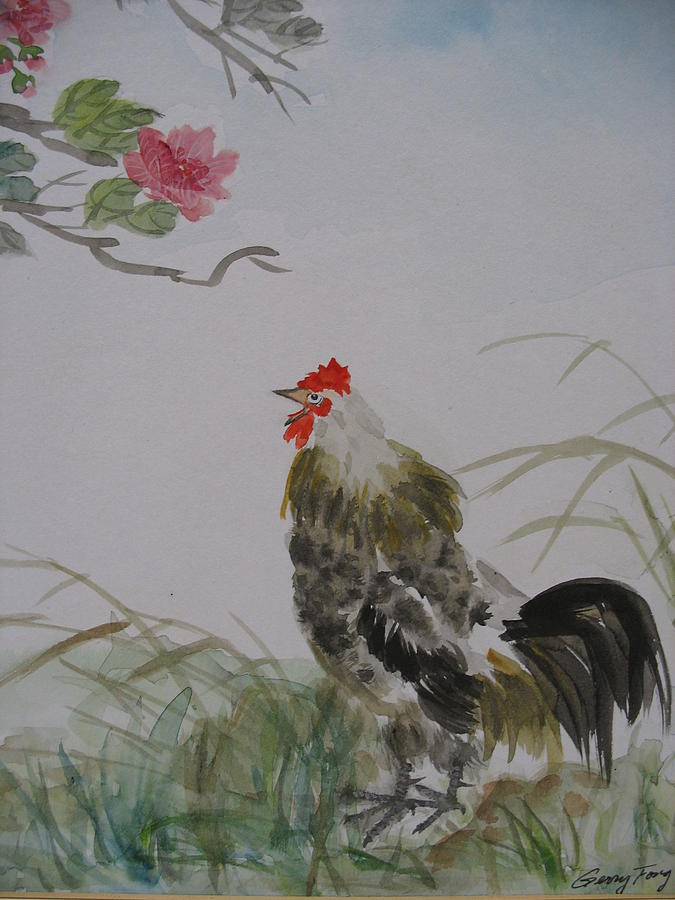 Rooster Painting - Morning Calls by Gerry Fong