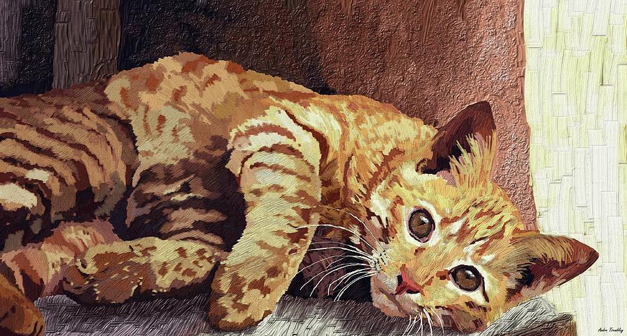 Cat Digital Art - Morning Cat by Andre Tremblay