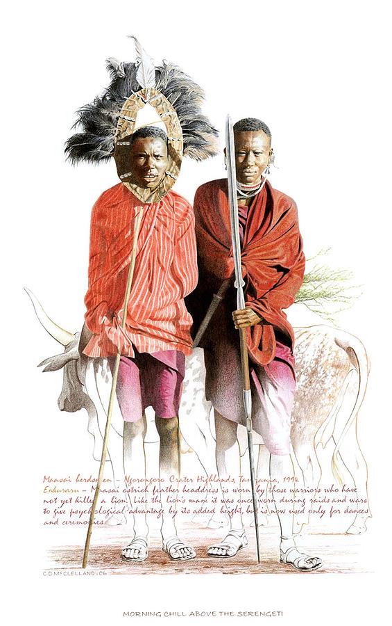 Masai Drawing - Morning Chill Above The Serengeti by Chris McClelland